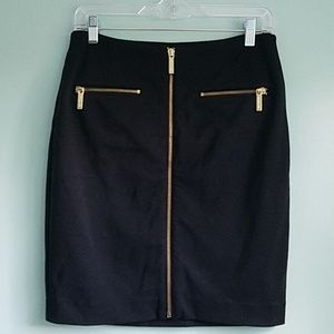Michael Kors Black Pencil Work Skirt Gold Zippers